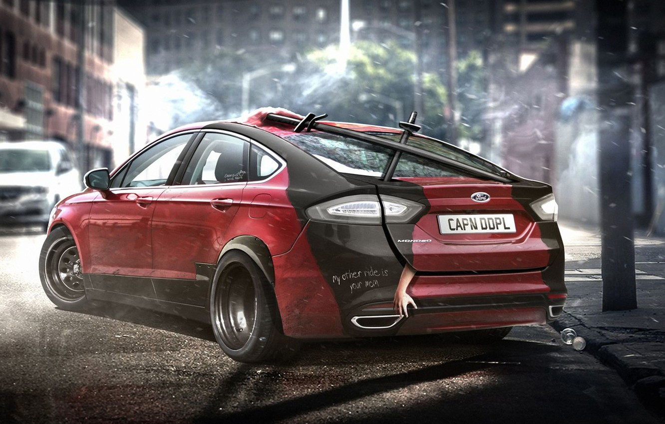 Photo wallpaper auto, Ford, auto, superhero, Deadpool, Marvel, Marvel, Deadpool, DC Superheroes, Ford Fusion Mondeo