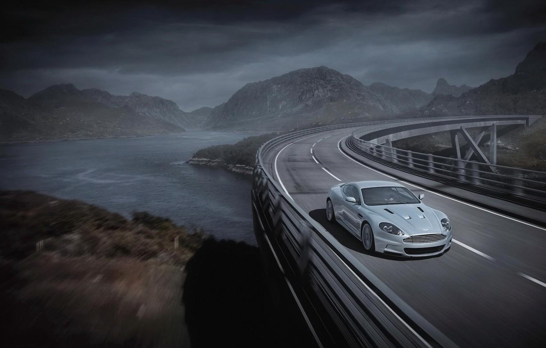 Photo wallpaper road, bridge, grey, Aston Martin, Aston Martin