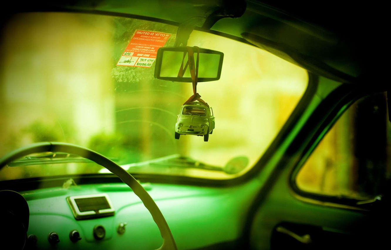 Photo wallpaper auto, green, toy, mirror
