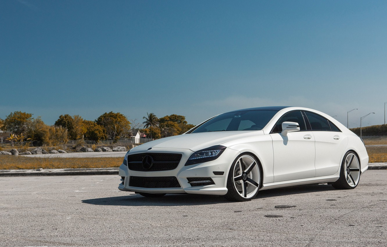 Photo wallpaper white, tuning, Mercedes, Mat, CLS 550