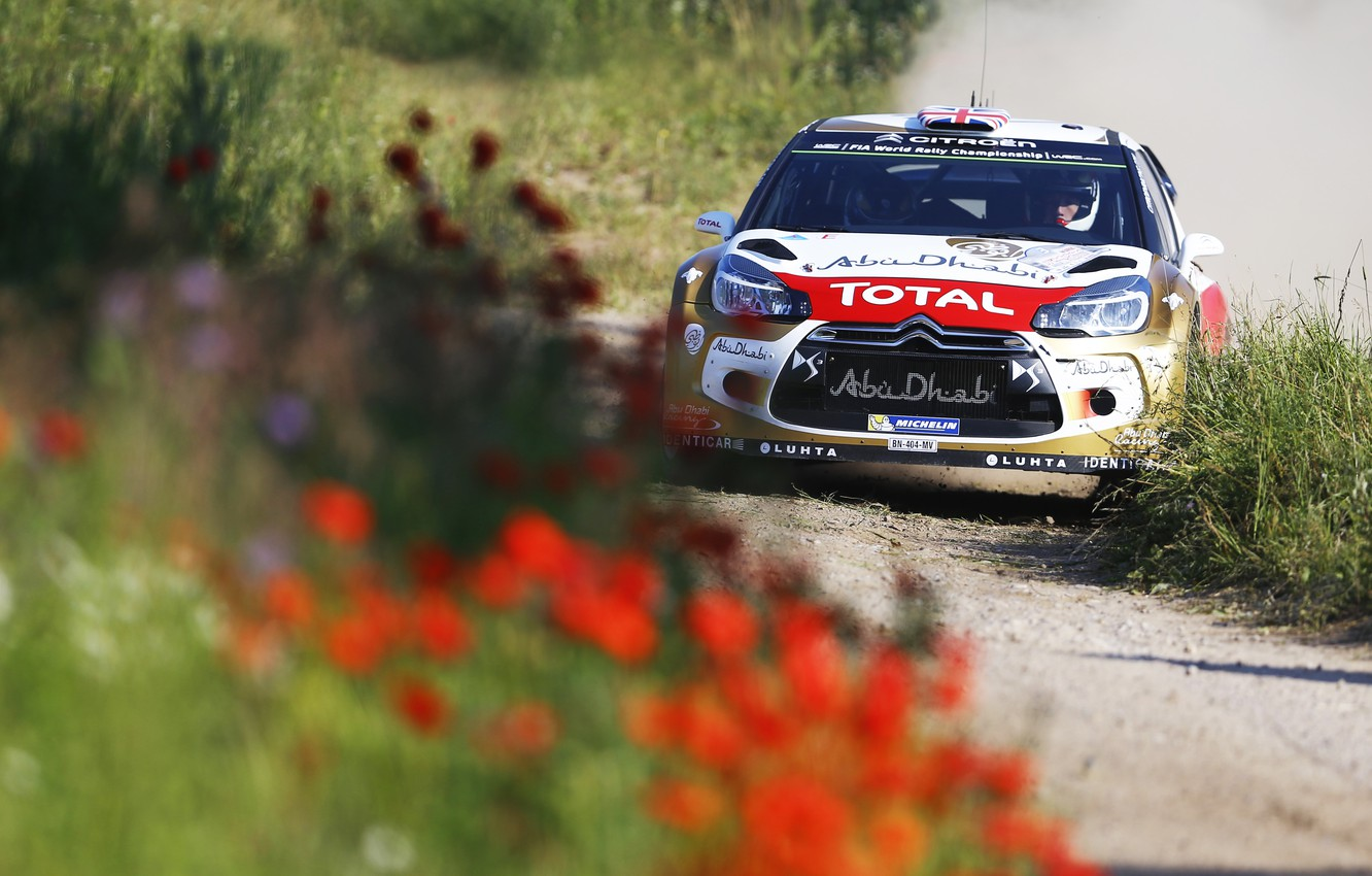 Photo wallpaper Flowers, Sport, Machine, Citroen, Day, Citroen, Lights, DS3, WRC, Rally, Rally, The front, Total