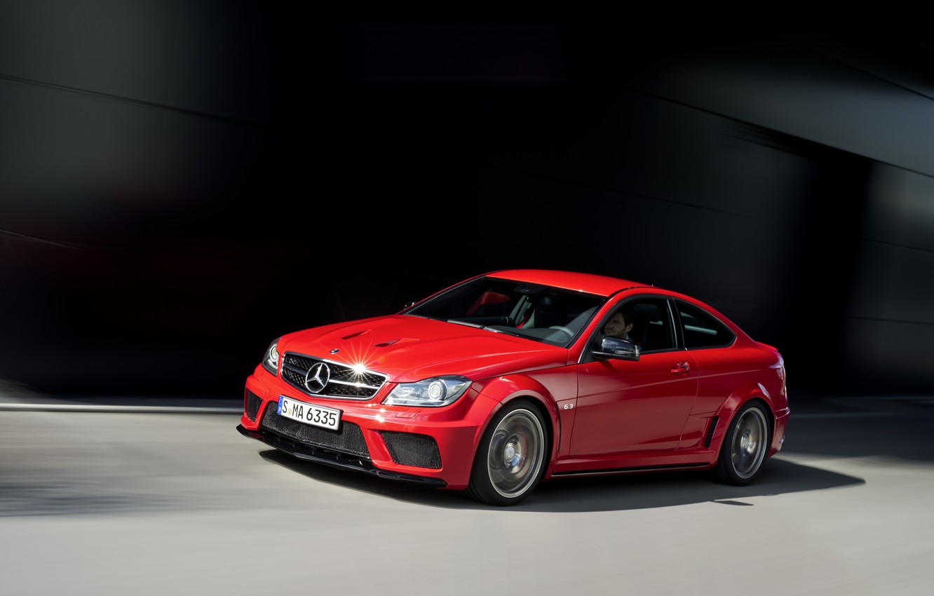 Photo wallpaper car, machine, auto, Mercedes, red, benz, coupe, amg, c63