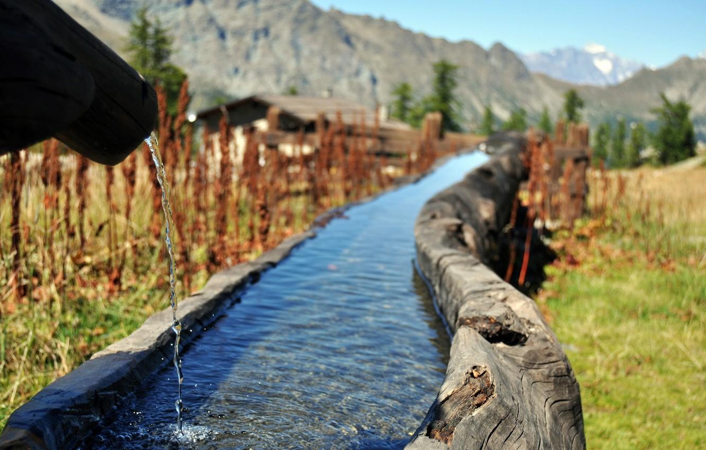 Photo wallpaper water, mountains, stream