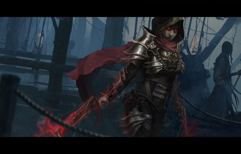 Wallpaper Diablo 3 Demon Hunter Woman Crossbow Hood Images For