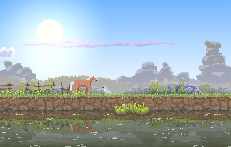 Photo wallpaper the sky, grass, the sun, nature, river, stones, horse, dog, grass, river, sky, nature, pixel, …
