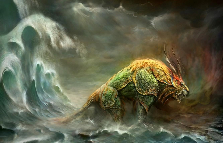 Photo wallpaper sea, monster, Leo