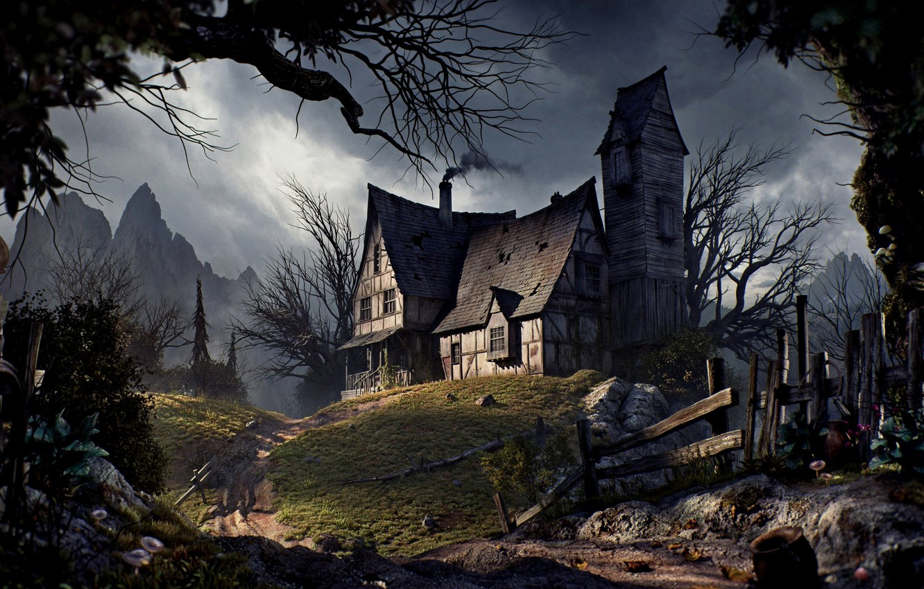 Photo wallpaper road, trees, mountains, the fence, Halloween, Halloween, road, trees, mountains, fence, Old house, Old house
