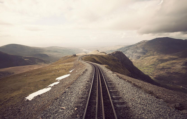 Photo wallpaper snow, clouds, overcast, hills, rails, railroad, Heath, mound