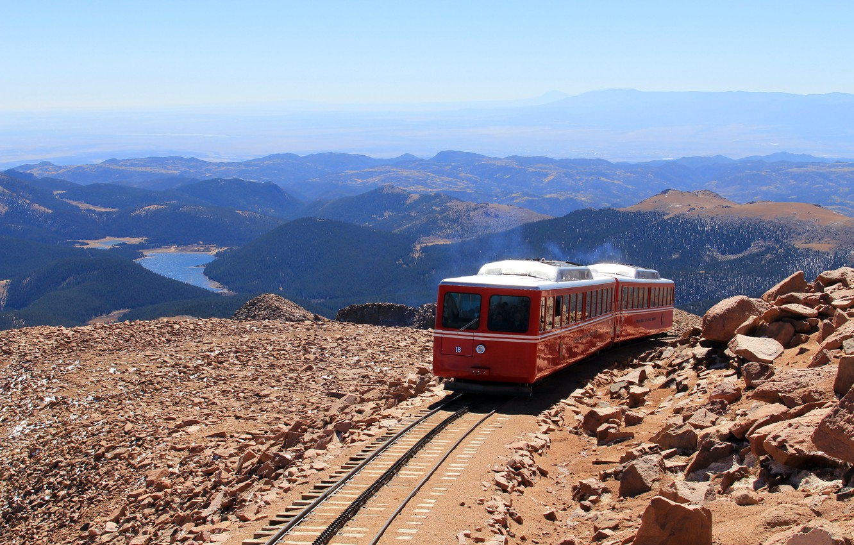 Photo wallpaper landscape, mountains, train