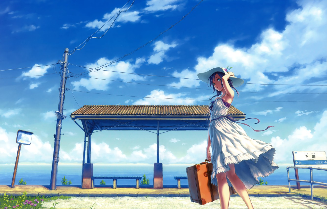 Photo wallpaper the sky, grass, girl, clouds, flowers, tape, the wind, wire, post, station, hat, dress, suitcase, …