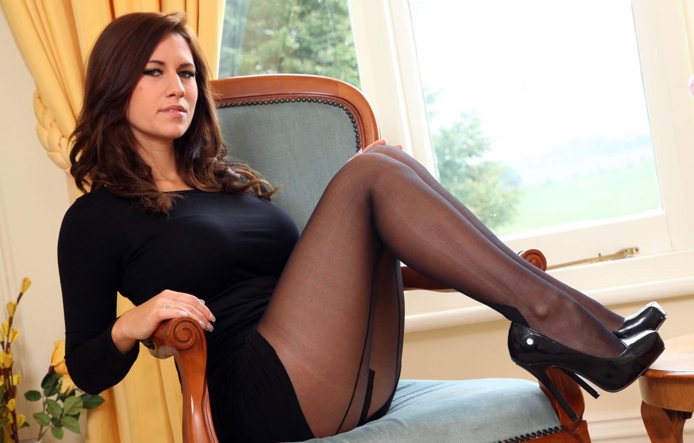 Photo wallpaper sexy, dress, legs, woman, stockings, model