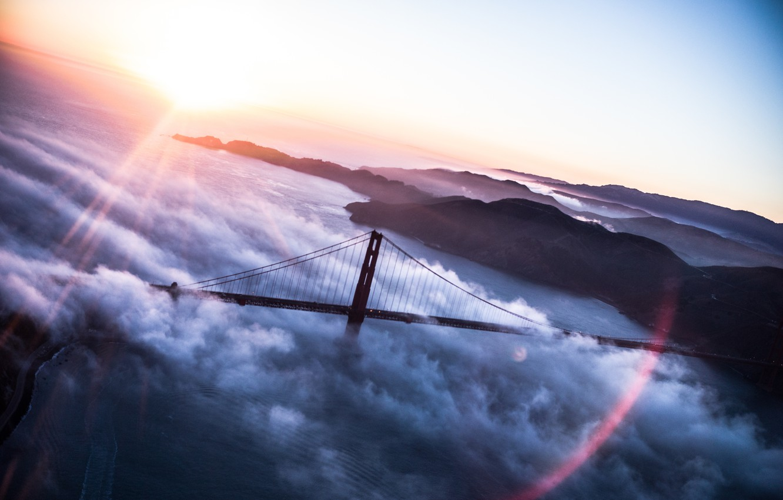 Photo wallpaper clouds, bridge, USA, America, Golden Gate