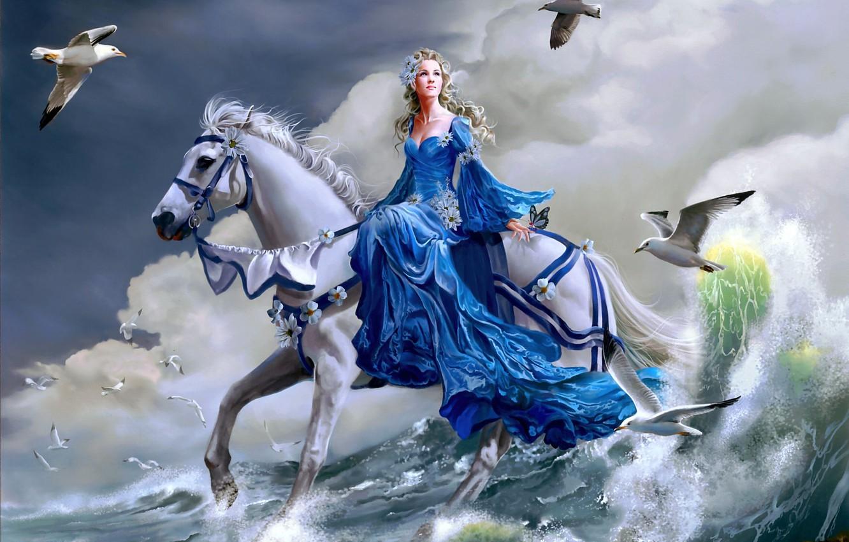 Photo wallpaper sea, girl, horse, horse, wave, seagulls, art, Nene Thomas