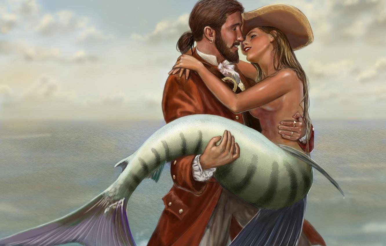 Photo wallpaper sea, meeting, mermaid, Male, on hand
