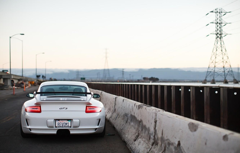Photo wallpaper road, white, the sky, light, white, porsche, Porsche, gt3, road, sky, back, GT3, bump, led …