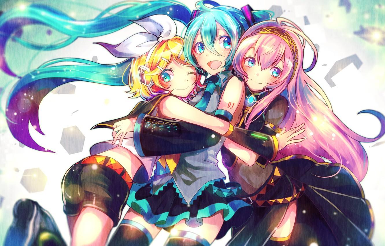 Photo wallpaper girls, together, figure, hugs, vocaloid, hatsune miku, megurine luka, kagamine rin, sazanami shione