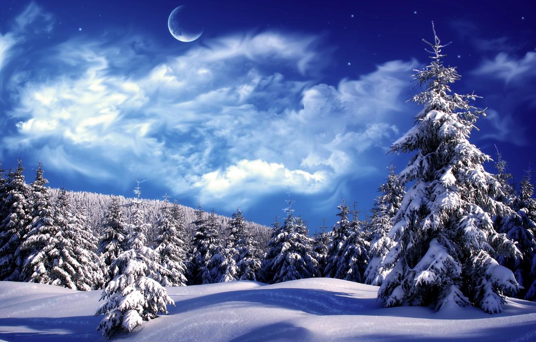 Photo wallpaper winter, clouds, snow, tree