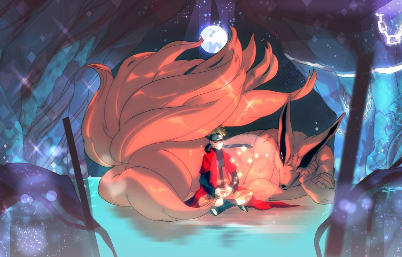 Wallpaper Smile Magic The Moon Meditation Fox Guy Naruto