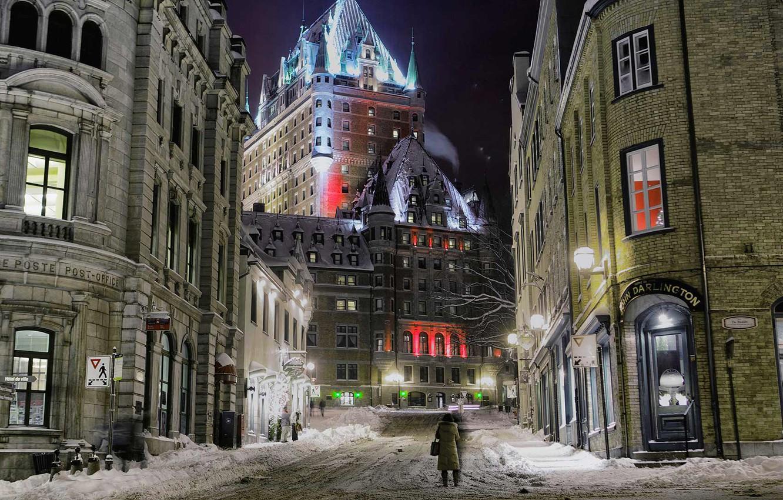 Photo wallpaper winter, night, lights, street, home, Canada, QC, the château Frontenac