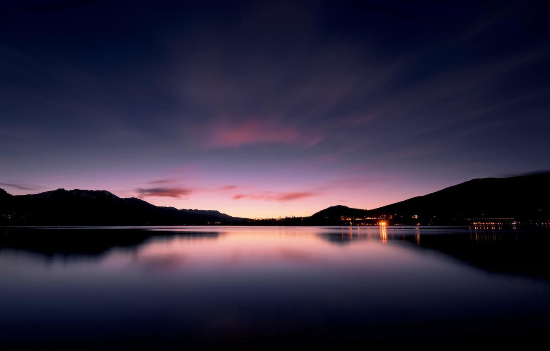 Photo wallpaper landscape, lake, dawn, the evening, twilight