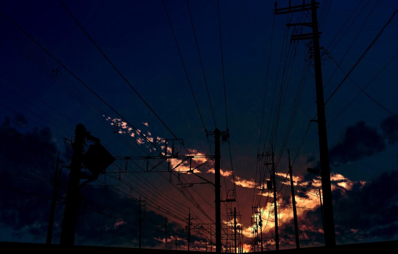 Photo wallpaper the sky, clouds, sunset, posts, wire, art, kibunya 39
