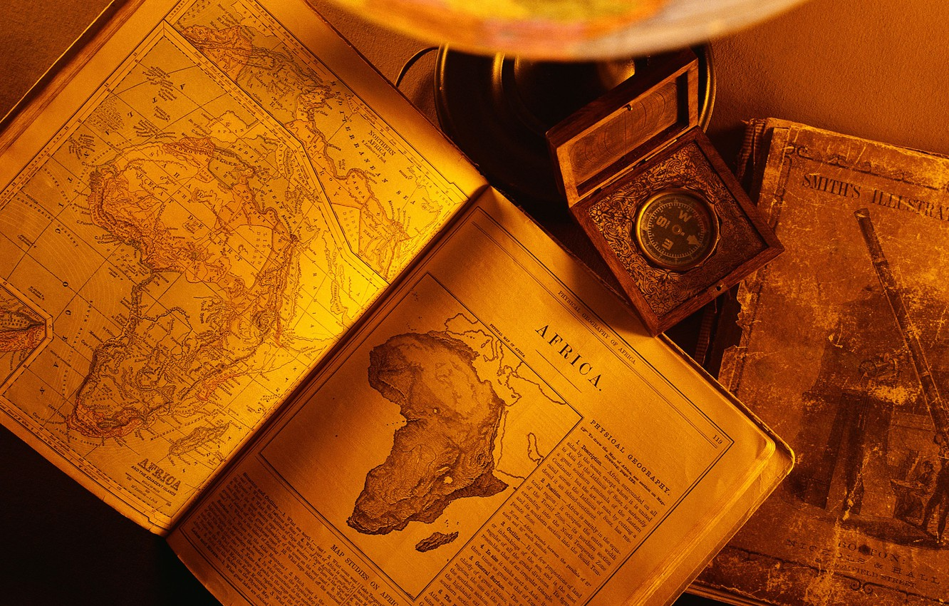 Photo wallpaper old, paper, books, africa continent