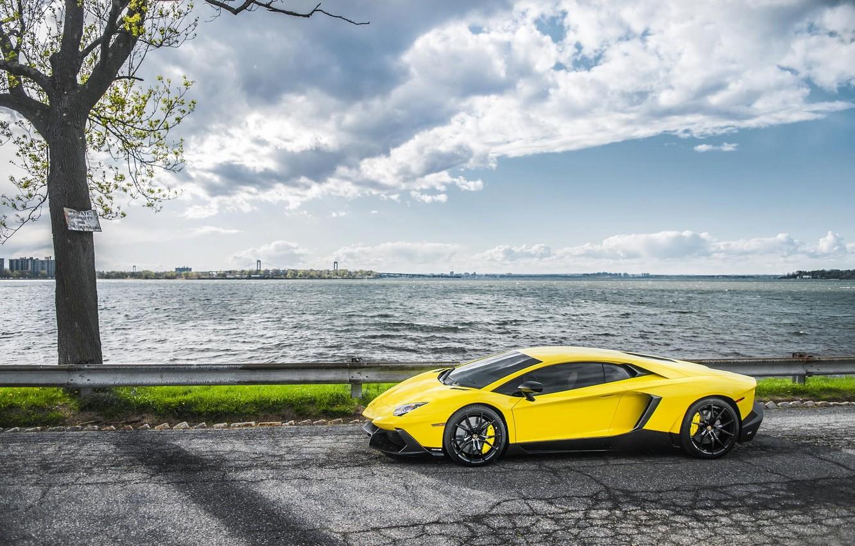 Photo wallpaper Sea, Road, Lamborghini, Supercar, Yellow, Aventador, Supercar, LP720-4, 50 Anniversario Edition