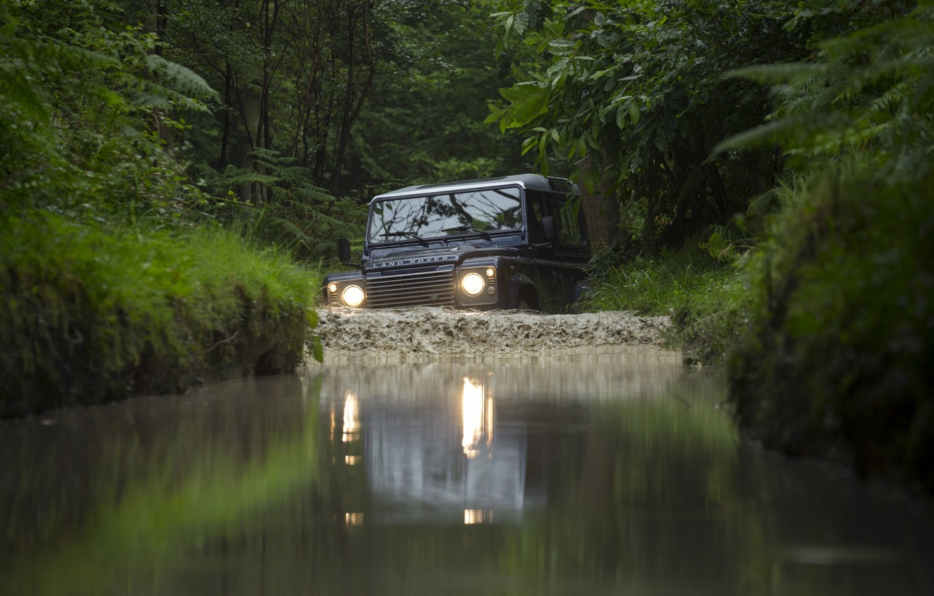 Photo wallpaper jeep, SUV, Land Rover, the front, Defender, Land Rover, Defender