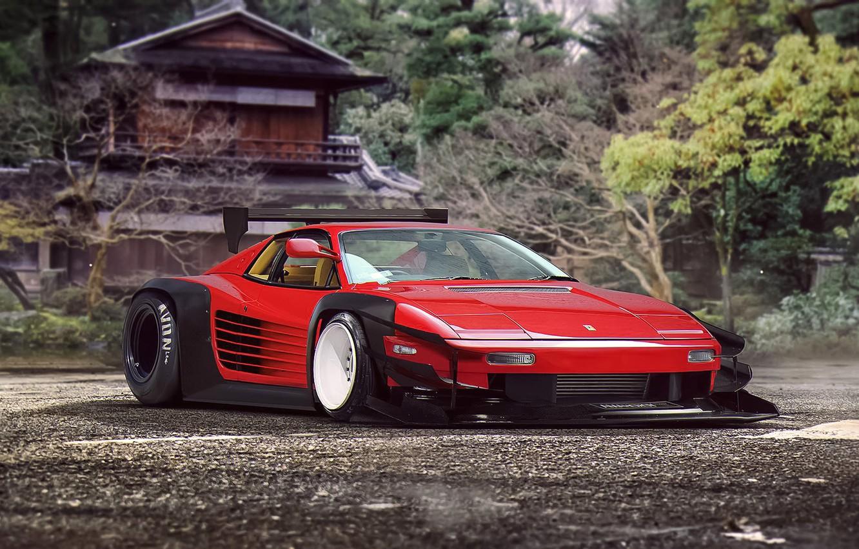Photo wallpaper Ferrari, Red, Classic, Tuning, Future, Supercar, 512, by Khyzyl Saleem