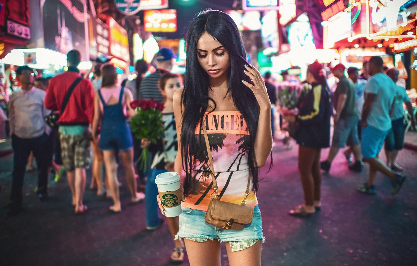 Photo wallpaper Girl, Light, Beautiful, Sexy, Model, New York, Female, Beauty, Times Square, Summer, Fashion, Glamour, Pretty, …