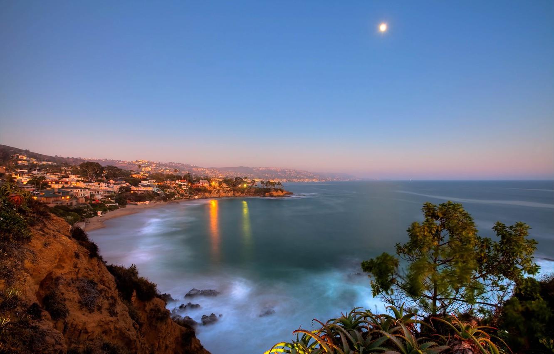 Photo wallpaper lights, the ocean, The moon, California, Laguna Beach, Crescent Bay Point Park