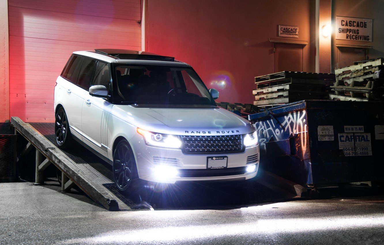 Photo wallpaper white, night, the building, white, front view, range rover, headlights, range Rover, land Rover, supercharged, …