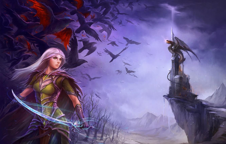 Photo wallpaper girl, birds, weapons, castle, dragon, elf, sword, elf, saber, the nightmares of winter, illustration to …