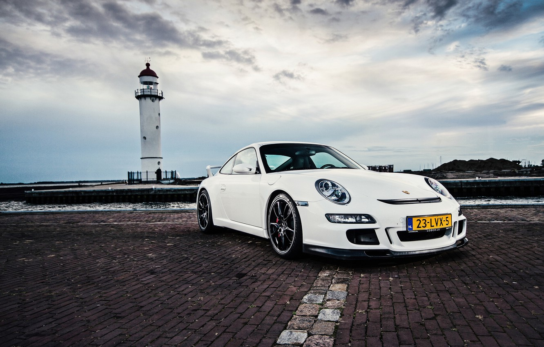 Photo wallpaper sea, white, the sky, lighthouse, 911, 997, Porsche, white, Porsche, sky, sea, GT3, lighthouse