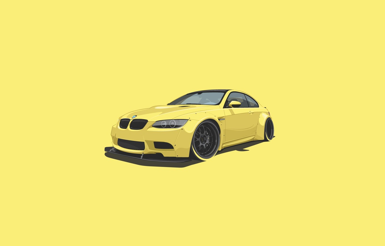 Photo wallpaper BMW, Car, Yellow, Minimalistic