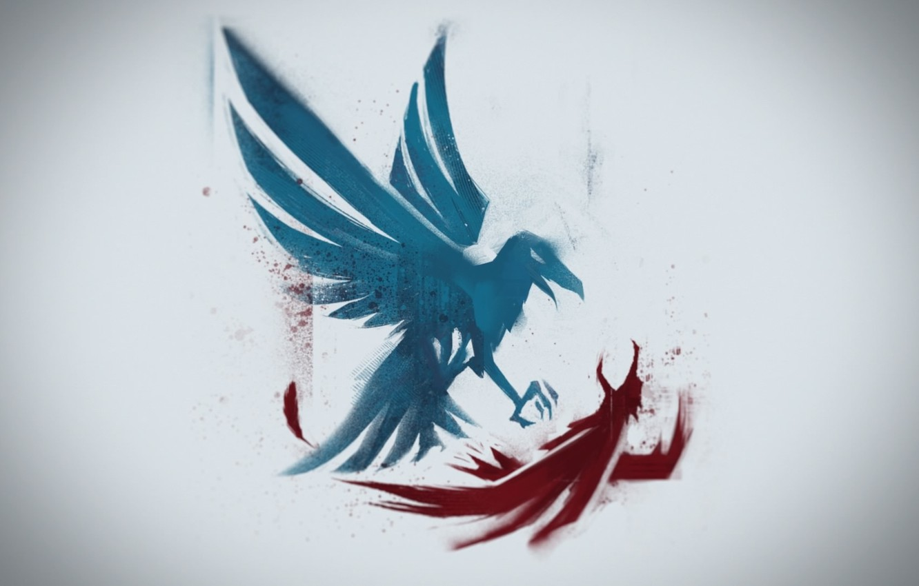 Photo wallpaper background, bird, figure, wings, Infamous: Second Son