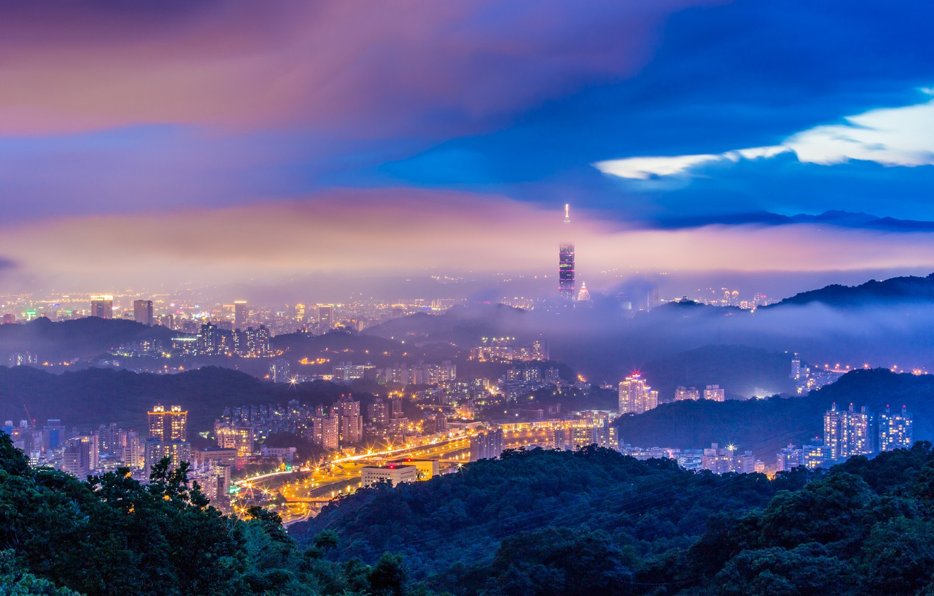 Photo wallpaper the storm, the sky, trees, mountains, clouds, the city, lights, fog, hills, view, building, tower, …