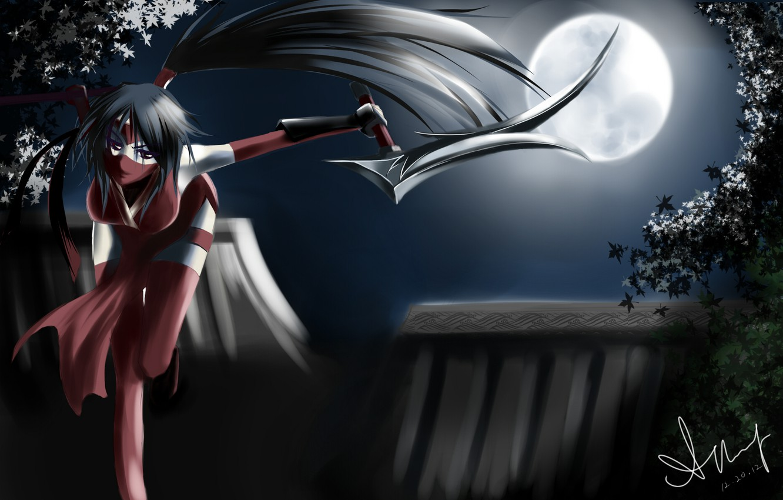 Photo wallpaper girl, night, weapons, the moon, art, league of legends, akali, blackrosekjl