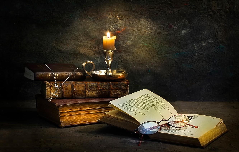 Photo wallpaper books, candle, glasses, cross