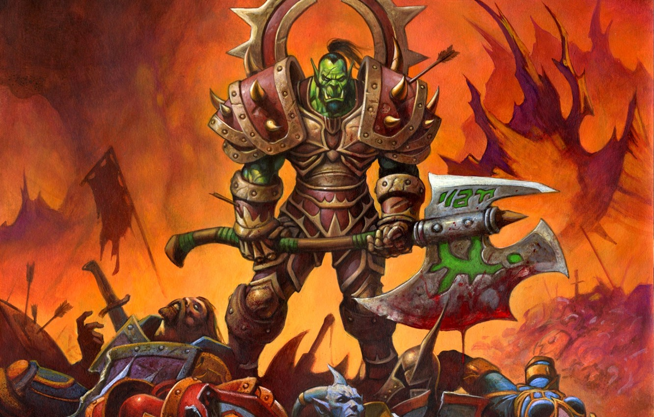 Photo wallpaper weapons, war, victory, blood, warrior, body, armor, Orc, wow, Horde, world of warcraft, warrior, ork, …
