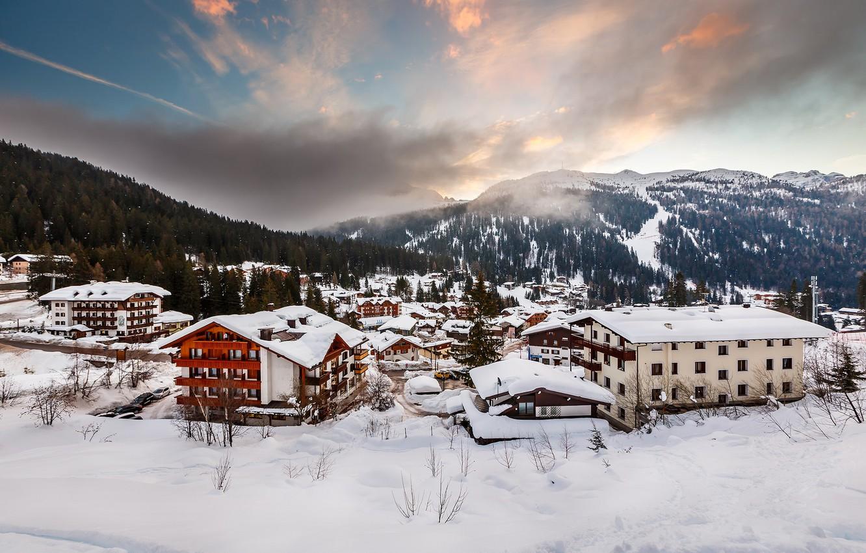 Photo wallpaper winter, snow, mountains, the city, building, home, Alps, Italy, houses, Italia, Alpi