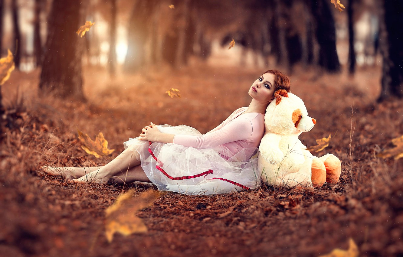 Wallpaper Autumn Leaves Girl Bear Alessandro Di Cicco
