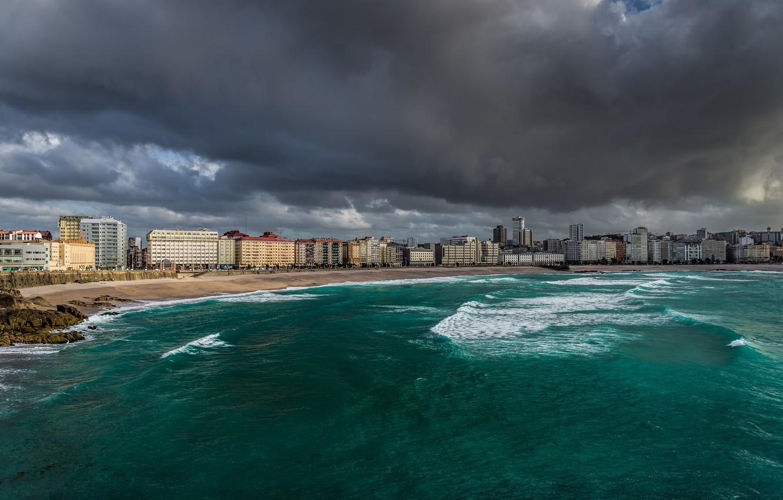 Photo wallpaper sea, beach, clouds, the city