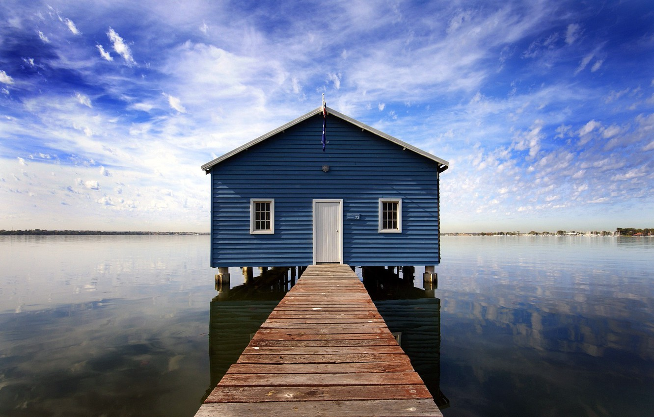Photo wallpaper the sky, water, clouds, House
