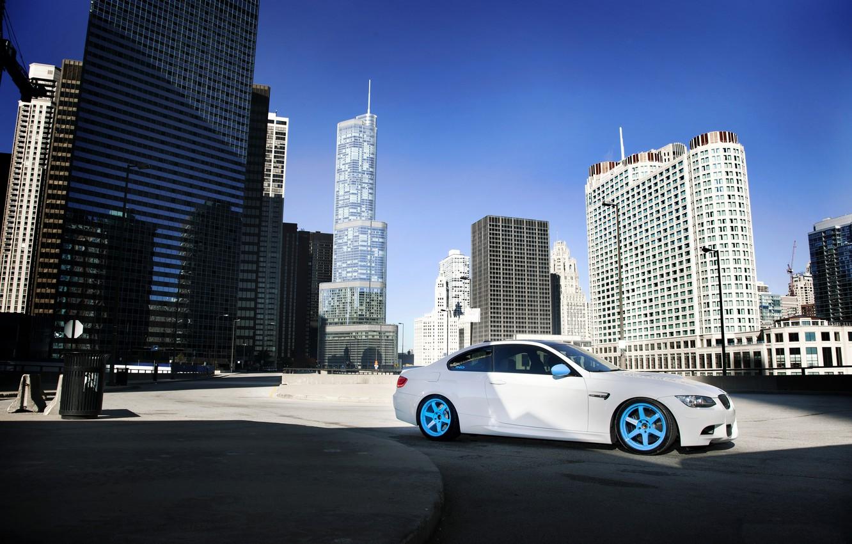 Photo wallpaper white, the city, BMW, shadow, BMW, white, skyscrapers, megapolis, E92, concrete blocks, IND