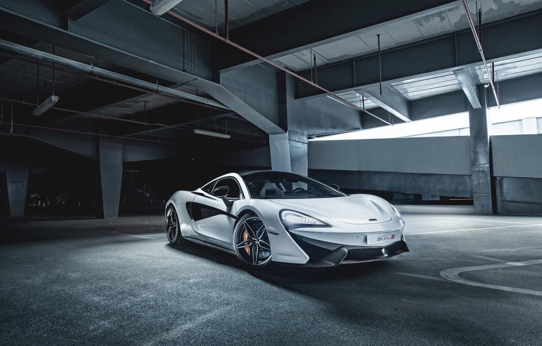 Photo wallpaper McLaren, Front, White, Parking, Supercar, 2015, Doors, 570S