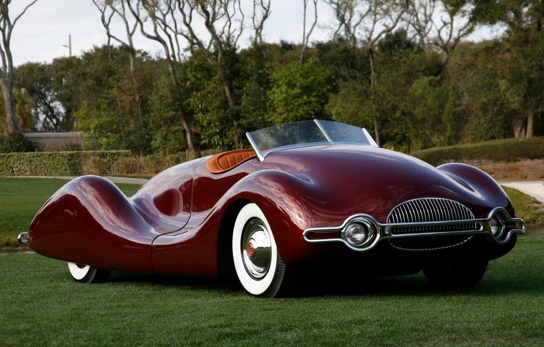Photo wallpaper retro, Buick, the front, Burgundy, beautiful car, Buick, 1949, Streamliner, Streamliner