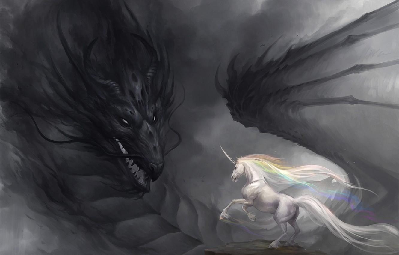 Photo wallpaper dragon, rainbow, art, unicorn, gloom, sandara