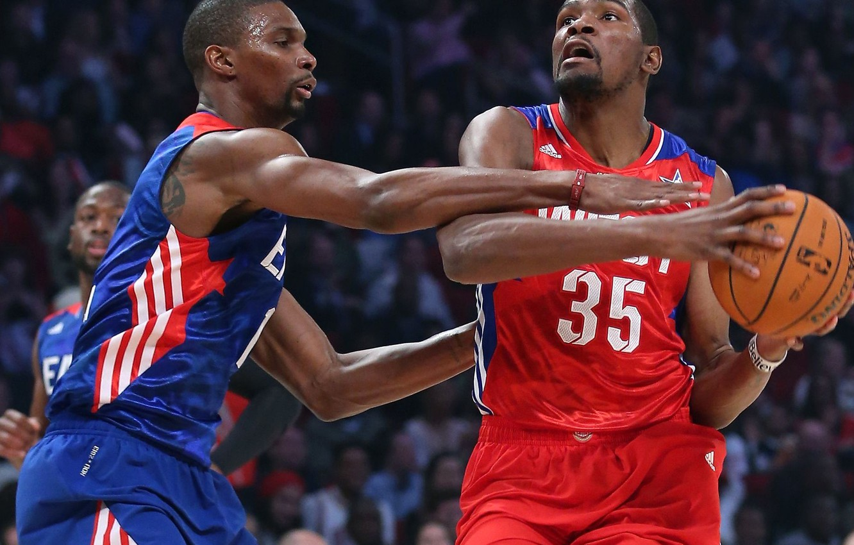 Photo wallpaper the game, the ball, basketball, NBA, Kevin Durant, Chris Bosh