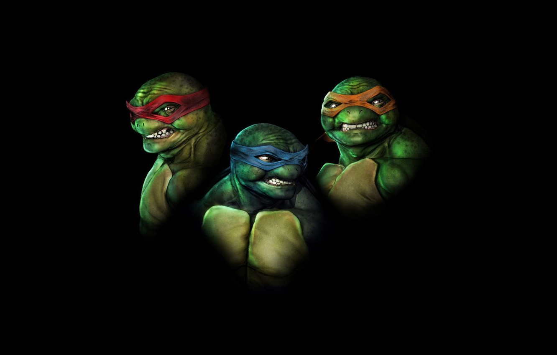 Photo wallpaper Minimalism, Black, Raphael, Leonardo, Teenage Mutant Ninja Turtles, Michelangelo, Ninja Turtles